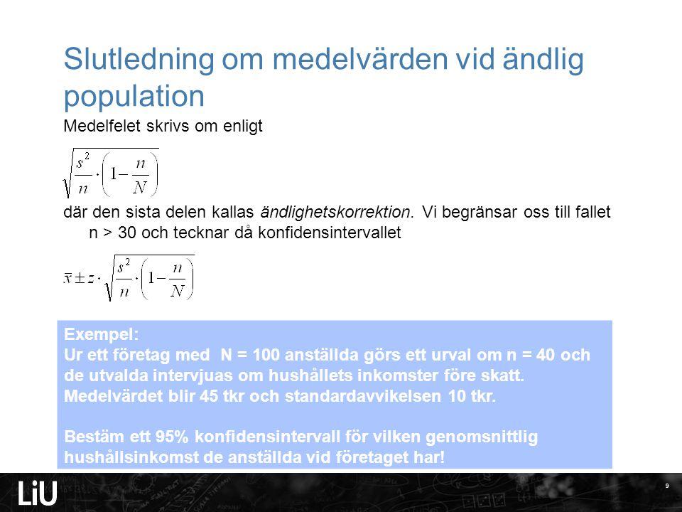 Slutledning om medelvärden vid ändlig population