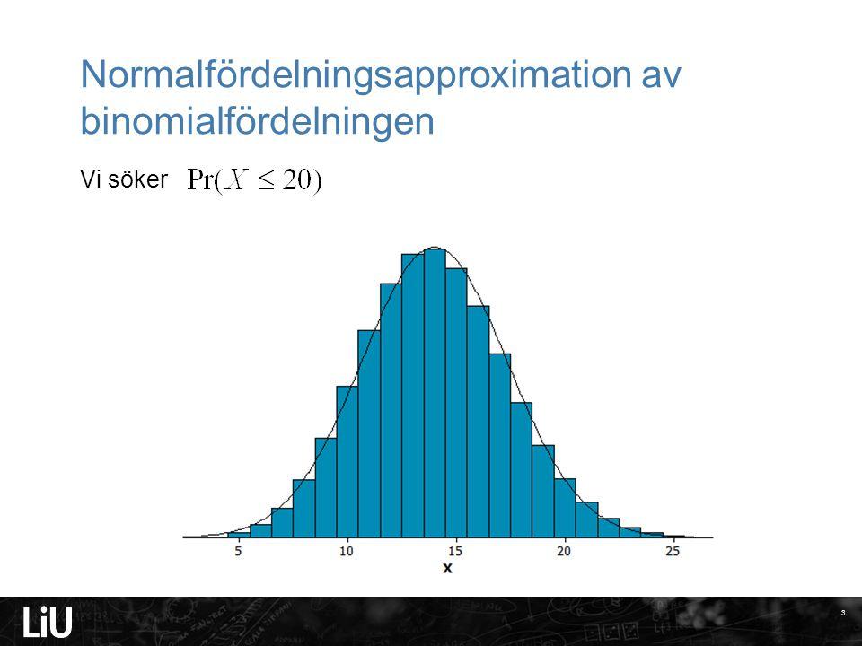 Normalfördelningsapproximation av binomialfördelningen