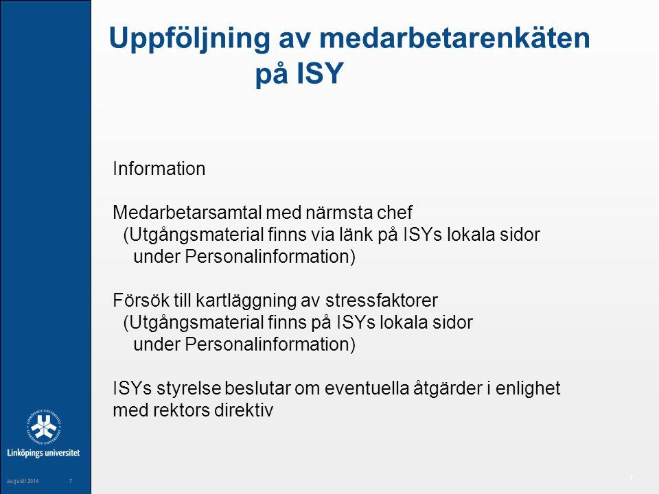 Uppföljning av medarbetarenkäten på ISY