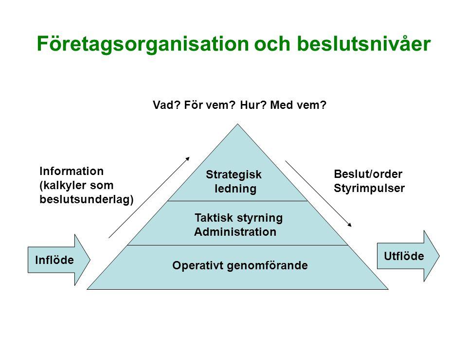 Företagsorganisation och beslutsnivåer