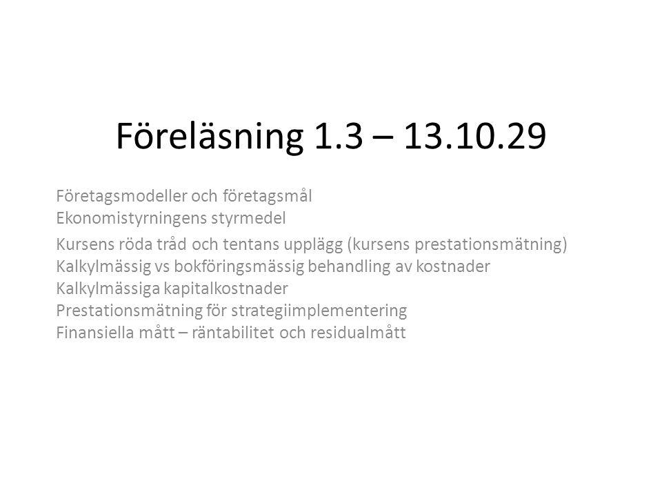 Föreläsning 1.3 – 13.10.29 Företagsmodeller och företagsmål Ekonomistyrningens styrmedel.