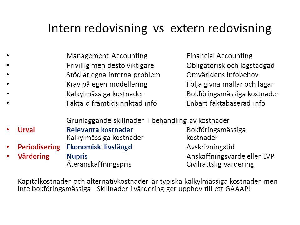 Intern redovisning vs extern redovisning