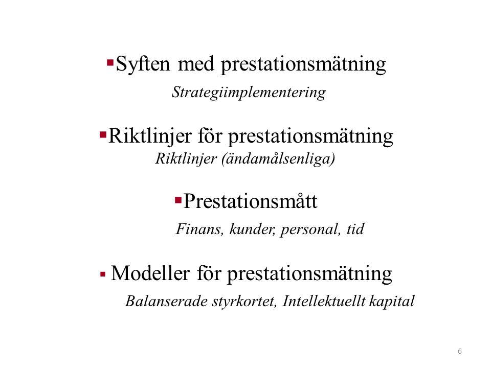 Syften med prestationsmätning Strategiimplementering