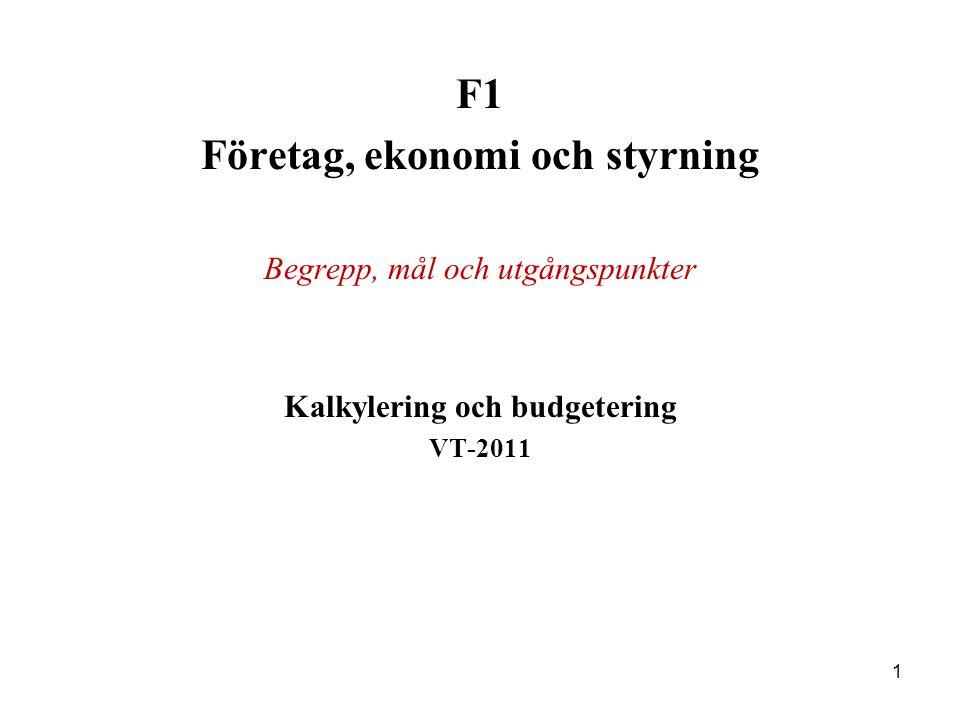 Företag, ekonomi och styrning Kalkylering och budgetering