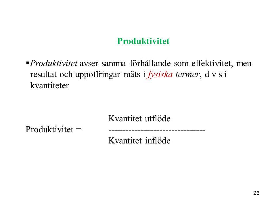 Produktivitet Produktivitet avser samma förhållande som effektivitet, men. resultat och uppoffringar mäts i fysiska termer, d v s i.