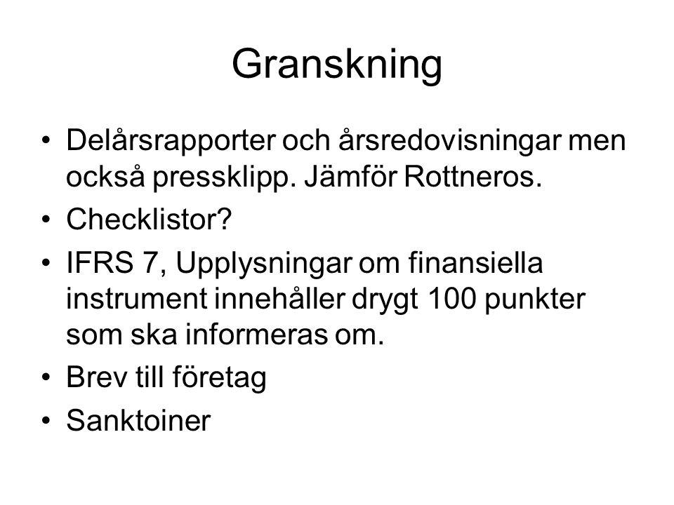 Granskning Delårsrapporter och årsredovisningar men också pressklipp. Jämför Rottneros. Checklistor