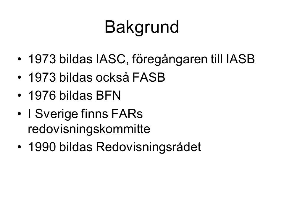 Bakgrund 1973 bildas IASC, föregångaren till IASB