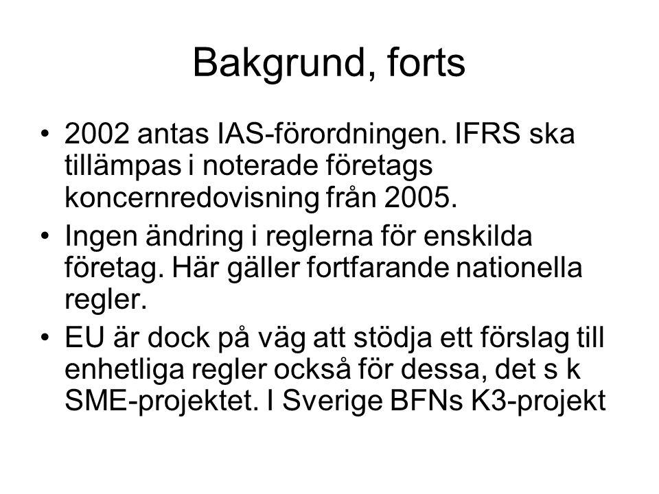 Bakgrund, forts 2002 antas IAS-förordningen. IFRS ska tillämpas i noterade företags koncernredovisning från 2005.