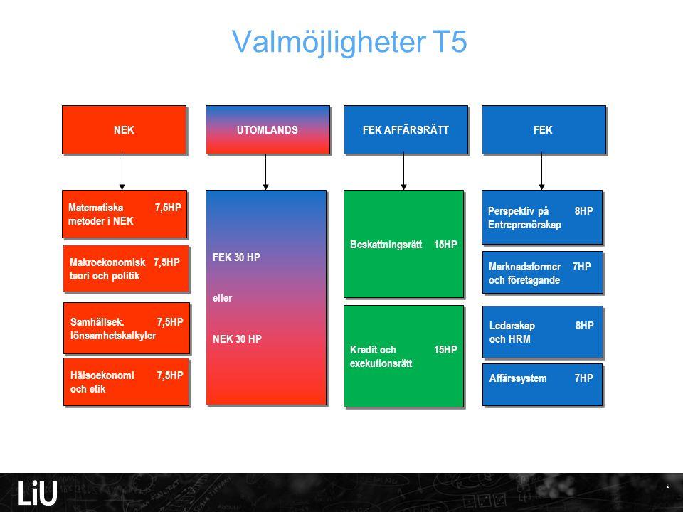 Valmöjligheter T5 FEK 30 HP eller NEK 30 HP NEK FEK AFFÄRSRÄTT FEK