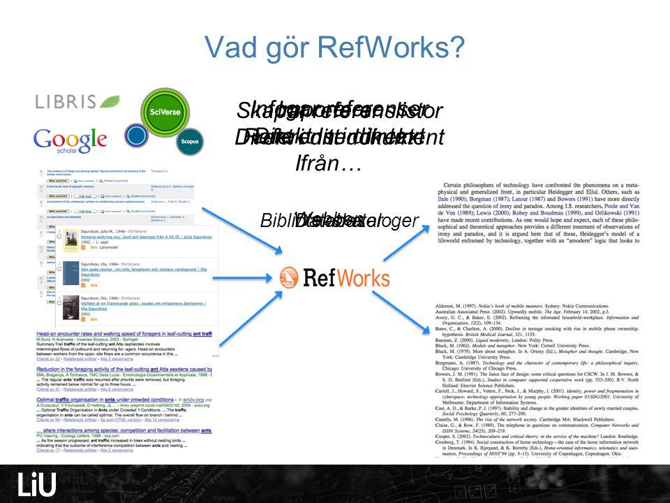 Vad gör RefWorks Skapar referenslistor Direkt i ditt dokument