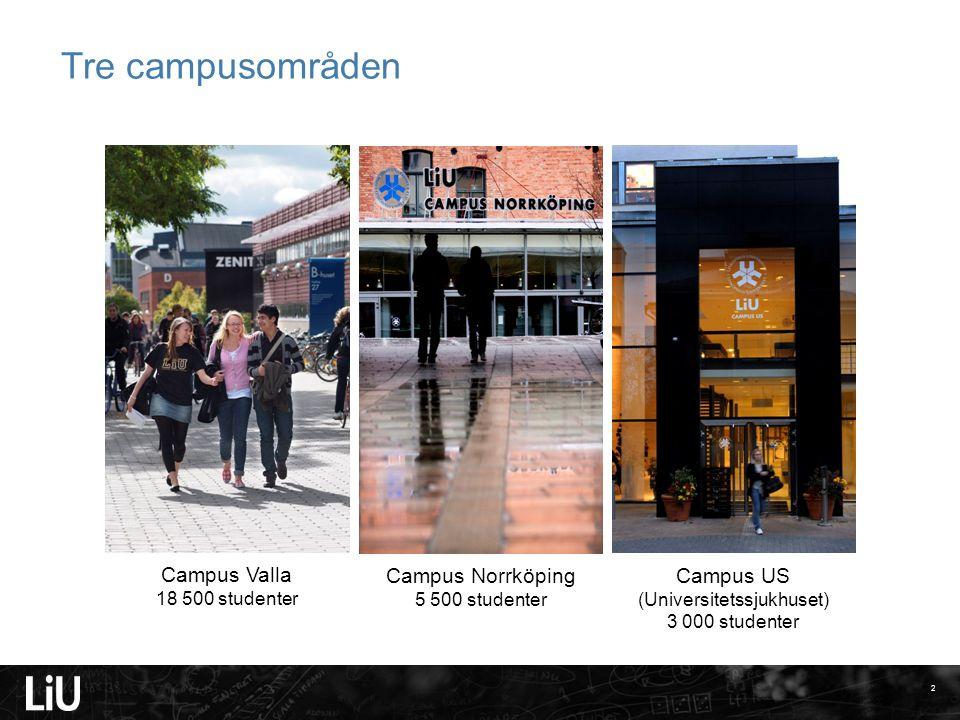 Tre campusområden Campus Valla 18 500 studenter