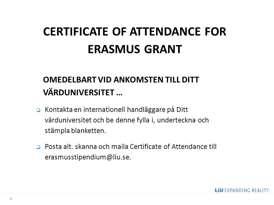 CERTIFICATE OF ATTENDANCE FOR ERASMUS GRANT
