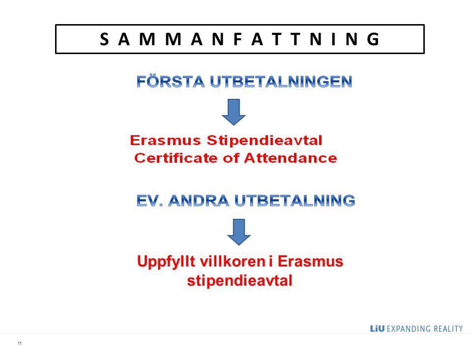 Uppfyllt villkoren i Erasmus stipendieavtal
