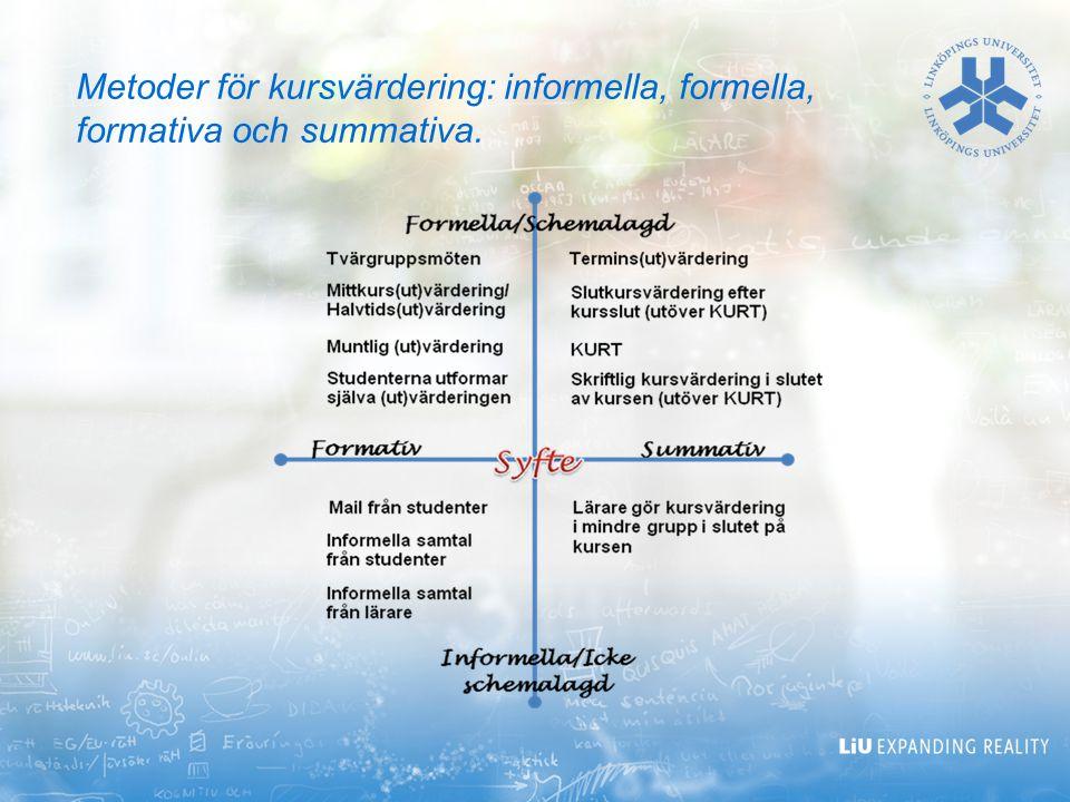 2017-04-06 Metoder för kursvärdering: informella, formella, formativa och summativa.