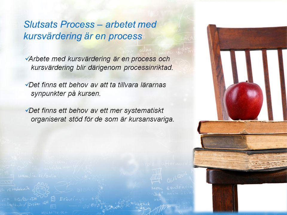 Slutsats Process – arbetet med kursvärdering är en process