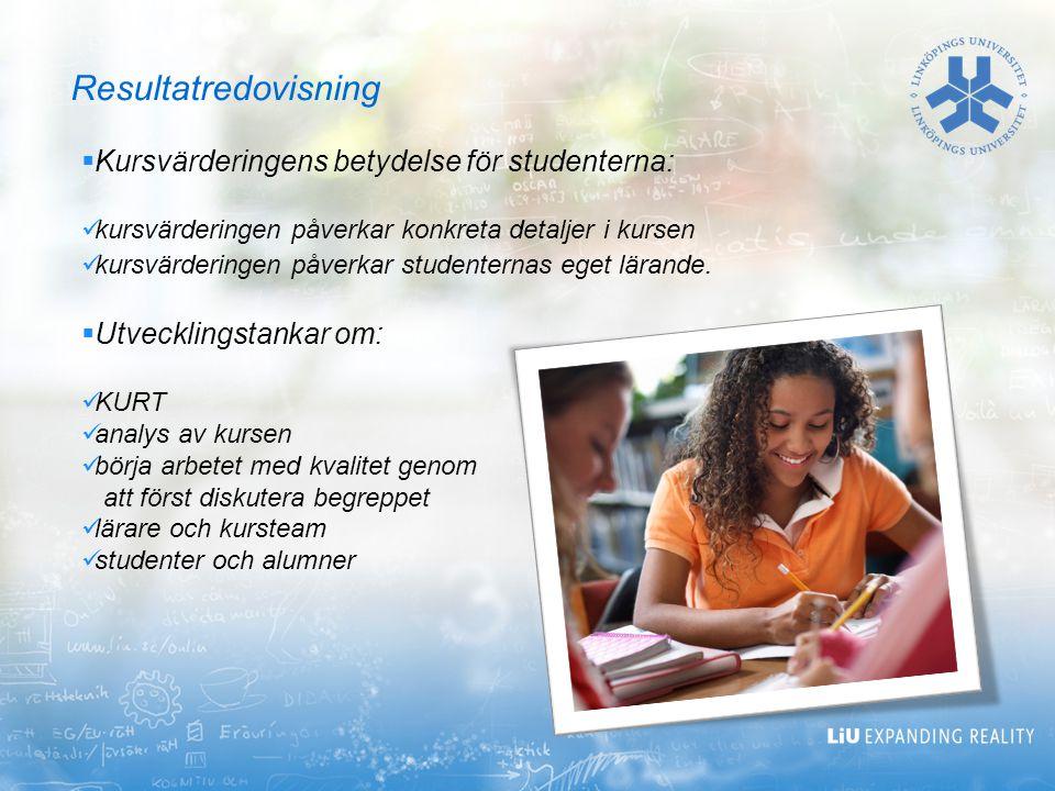 Resultatredovisning Kursvärderingens betydelse för studenterna:
