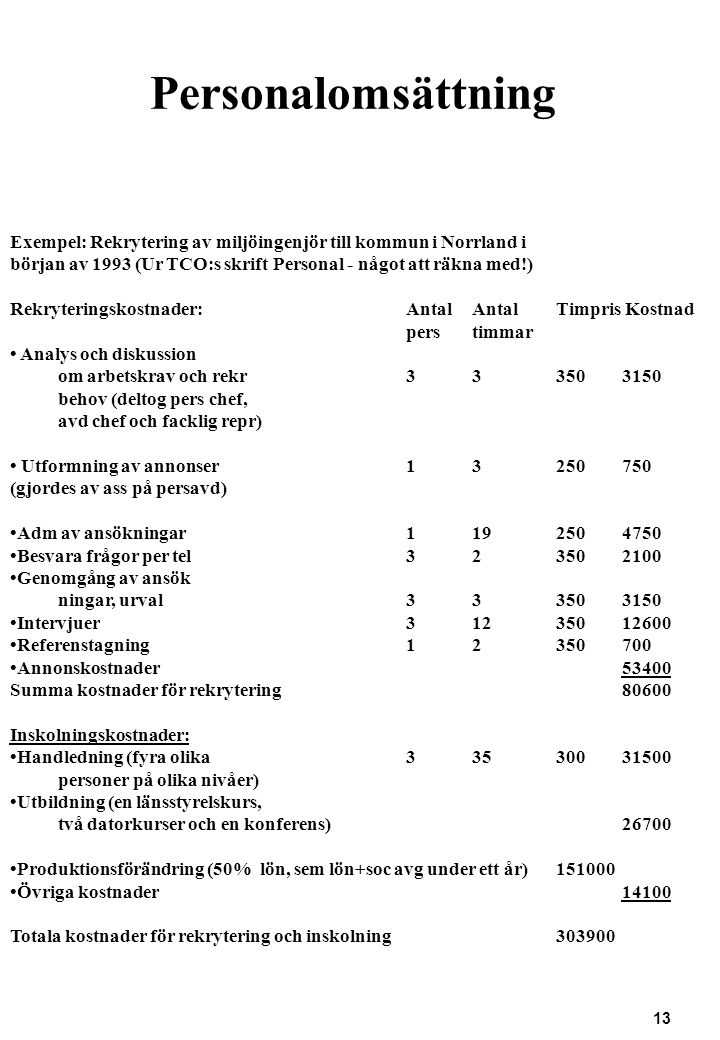 Personalomsättning Exempel: Rekrytering av miljöingenjör till kommun i Norrland i. början av 1993 (Ur TCO:s skrift Personal - något att räkna med!)
