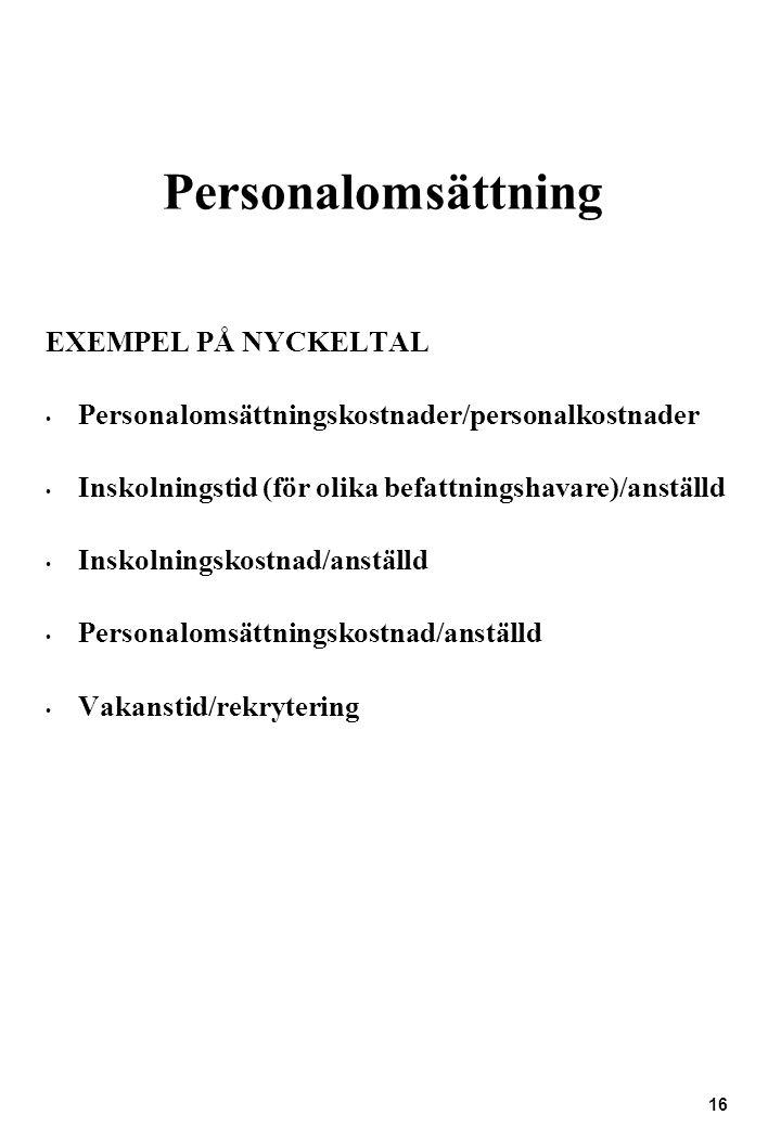 Personalomsättning EXEMPEL PÅ NYCKELTAL