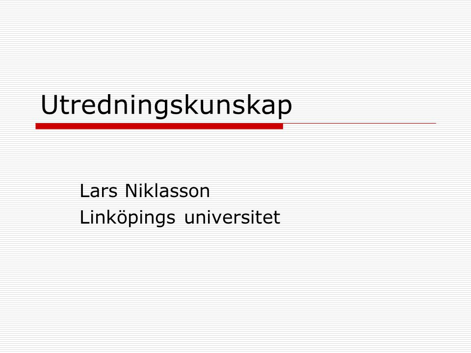 Lars Niklasson Linköpings universitet