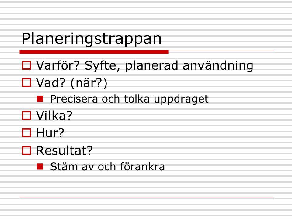 Planeringstrappan Varför Syfte, planerad användning Vad (när )