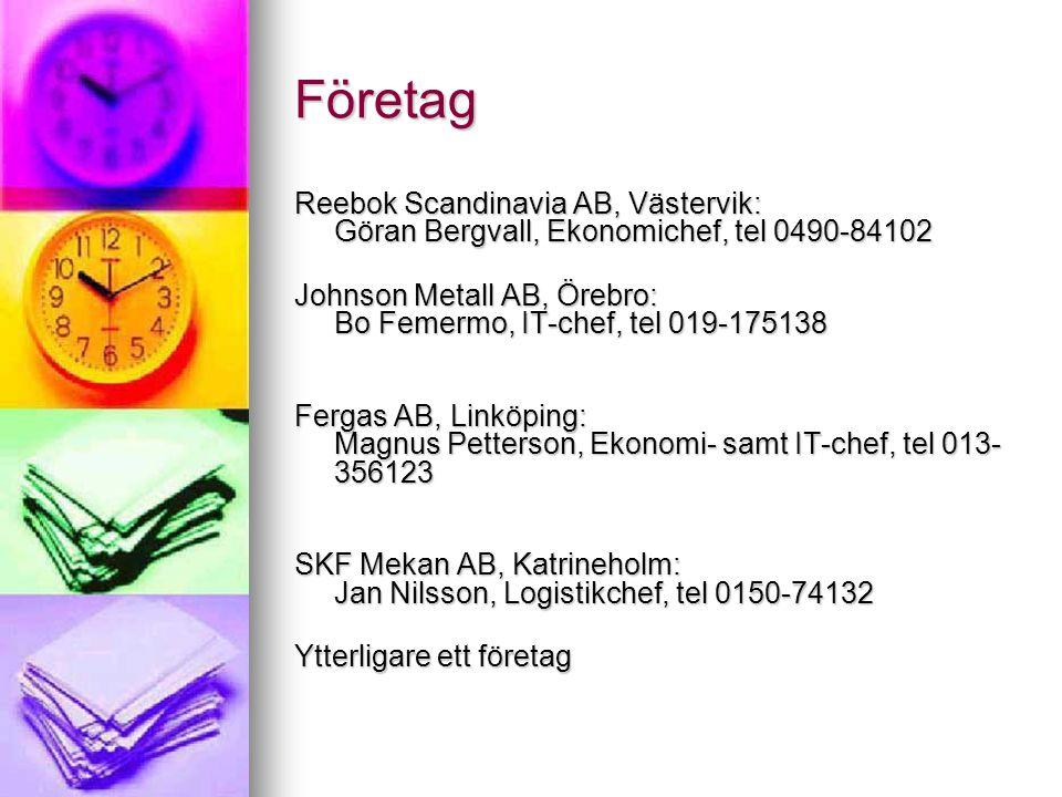 Företag Reebok Scandinavia AB, Västervik: Göran Bergvall, Ekonomichef, tel 0490-84102.
