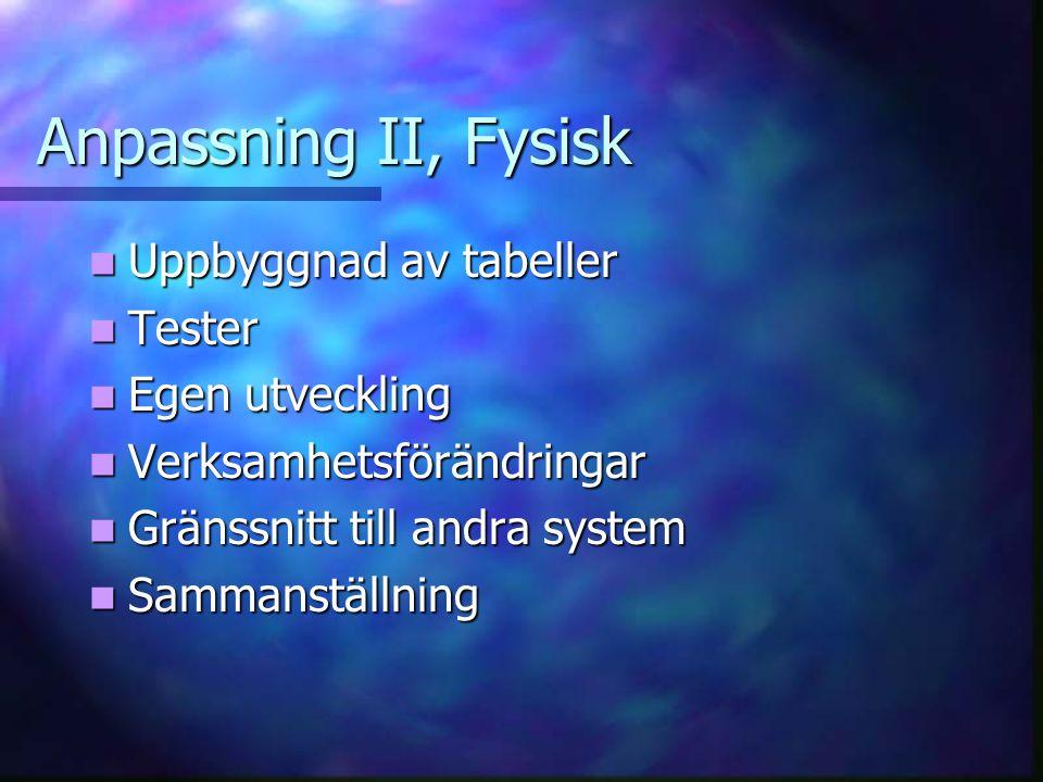 Anpassning II, Fysisk Uppbyggnad av tabeller Tester Egen utveckling