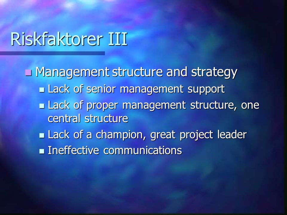 Riskfaktorer III Management structure and strategy