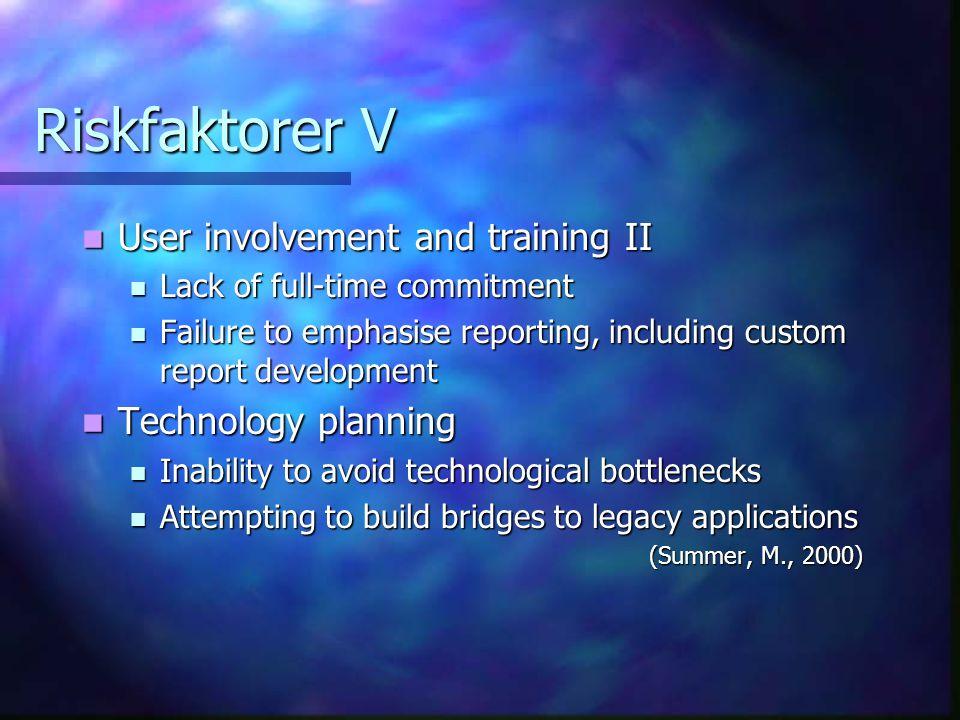 Riskfaktorer V User involvement and training II Technology planning