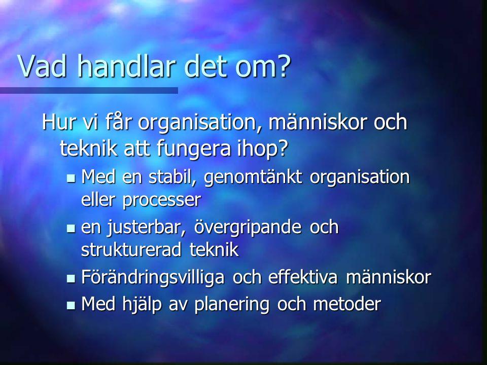 Vad handlar det om Hur vi får organisation, människor och teknik att fungera ihop Med en stabil, genomtänkt organisation eller processer.