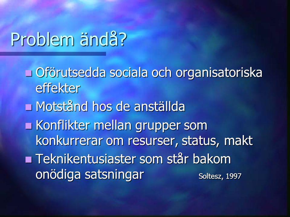 Problem ändå Oförutsedda sociala och organisatoriska effekter