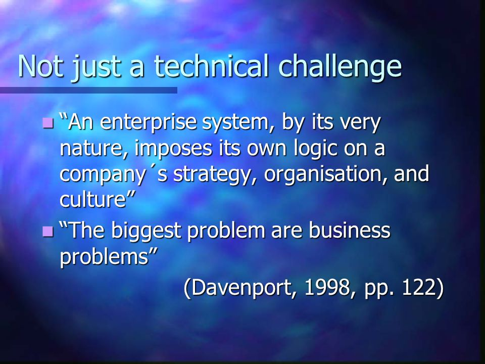 Not just a technical challenge