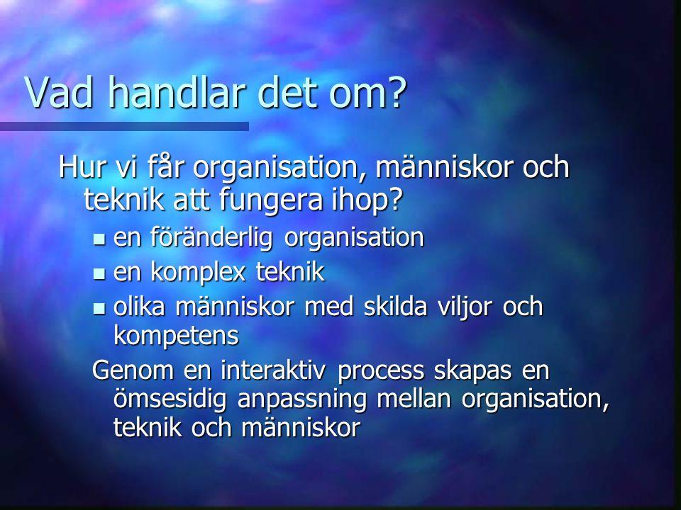 Vad handlar det om Hur vi får organisation, människor och teknik att fungera ihop en föränderlig organisation.