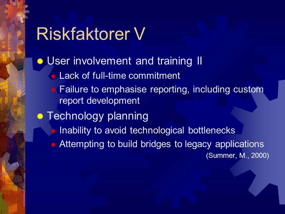 Riskfaktorer V User involvement and training II Technology planning