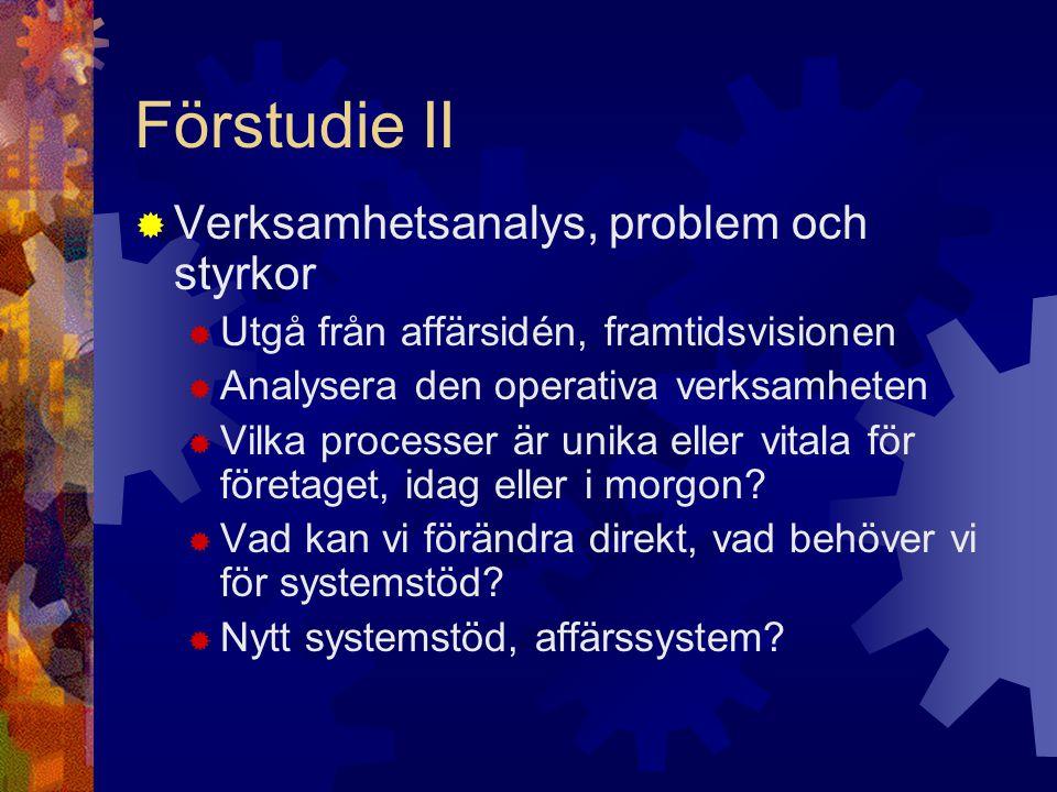 Förstudie II Verksamhetsanalys, problem och styrkor