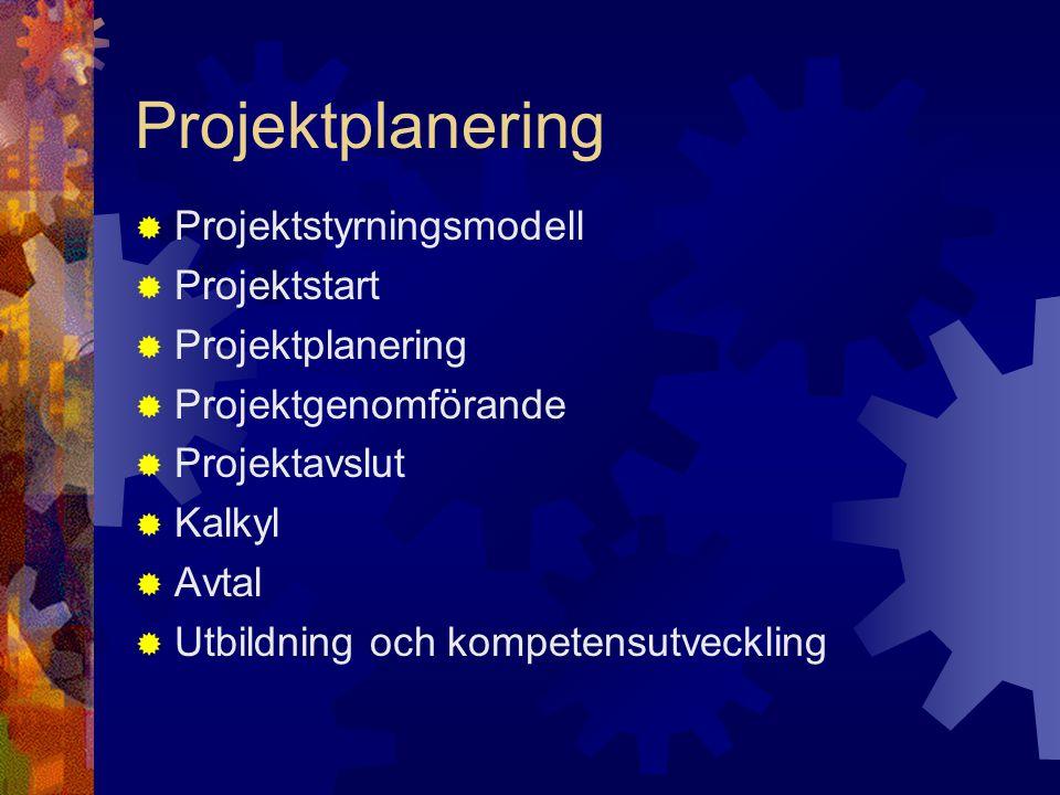 Projektplanering Projektstyrningsmodell Projektstart Projektplanering