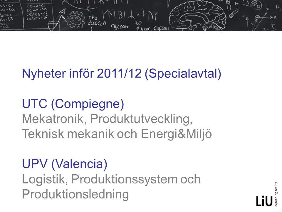 Nyheter inför 2011/12 (Specialavtal)