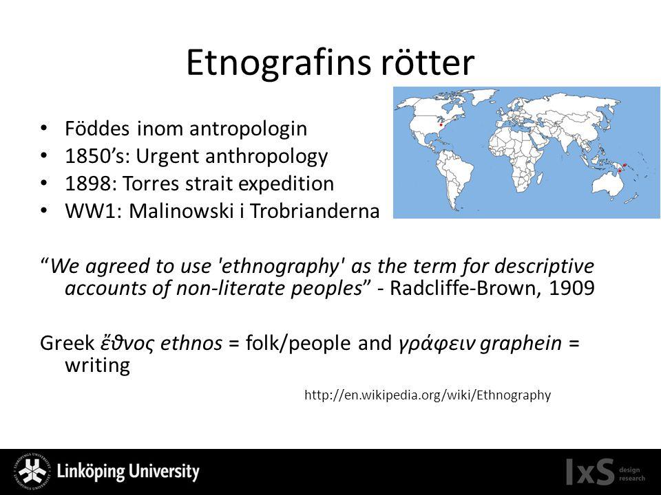 Etnografins rötter Föddes inom antropologin