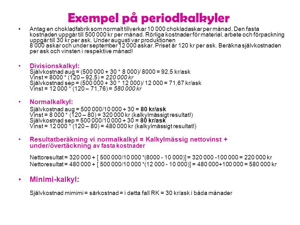 Exempel på periodkalkyler