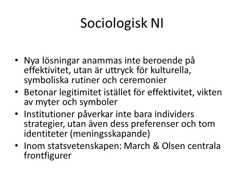 Sociologisk NI Nya lösningar anammas inte beroende på effektivitet, utan är uttryck för kulturella, symboliska rutiner och ceremonier.