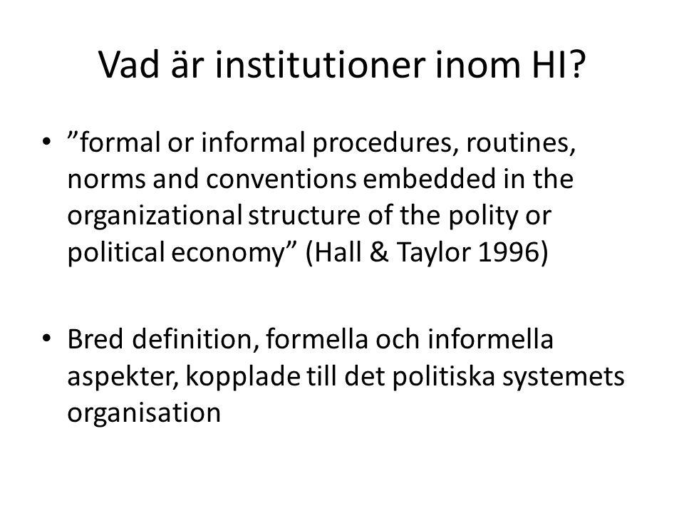 Vad är institutioner inom HI