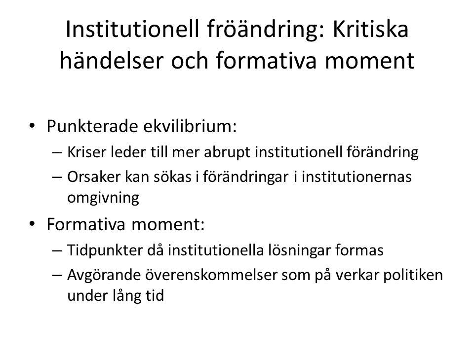 Institutionell fröändring: Kritiska händelser och formativa moment