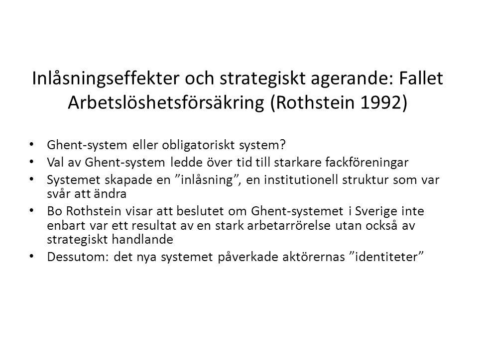 Inlåsningseffekter och strategiskt agerande: Fallet Arbetslöshetsförsäkring (Rothstein 1992)