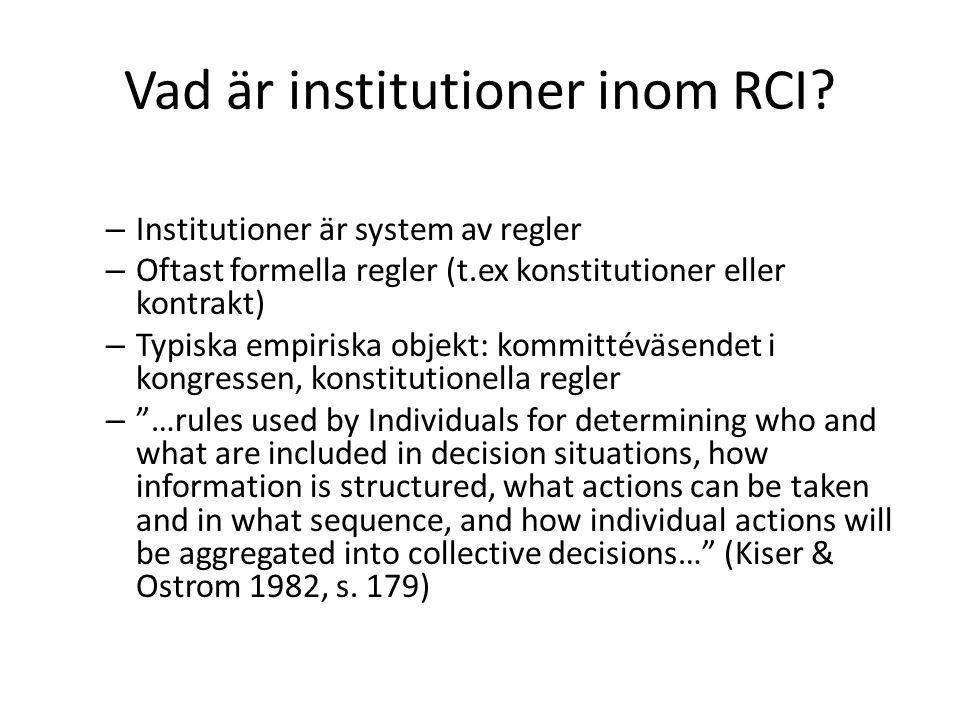 Vad är institutioner inom RCI