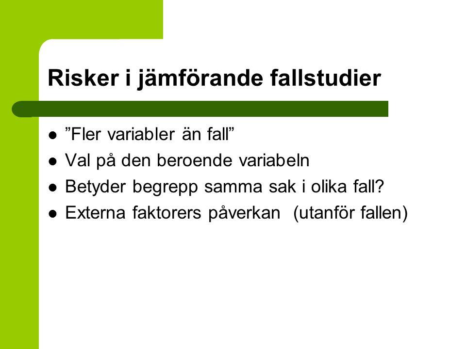 Risker i jämförande fallstudier