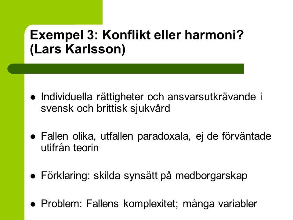 Exempel 3: Konflikt eller harmoni (Lars Karlsson)
