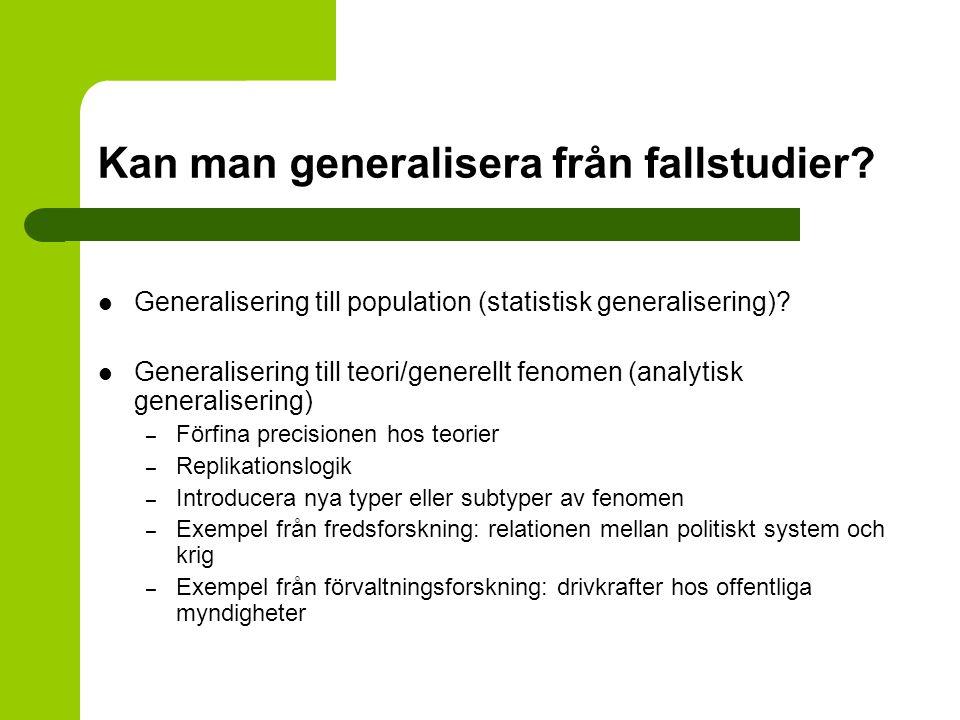 Kan man generalisera från fallstudier