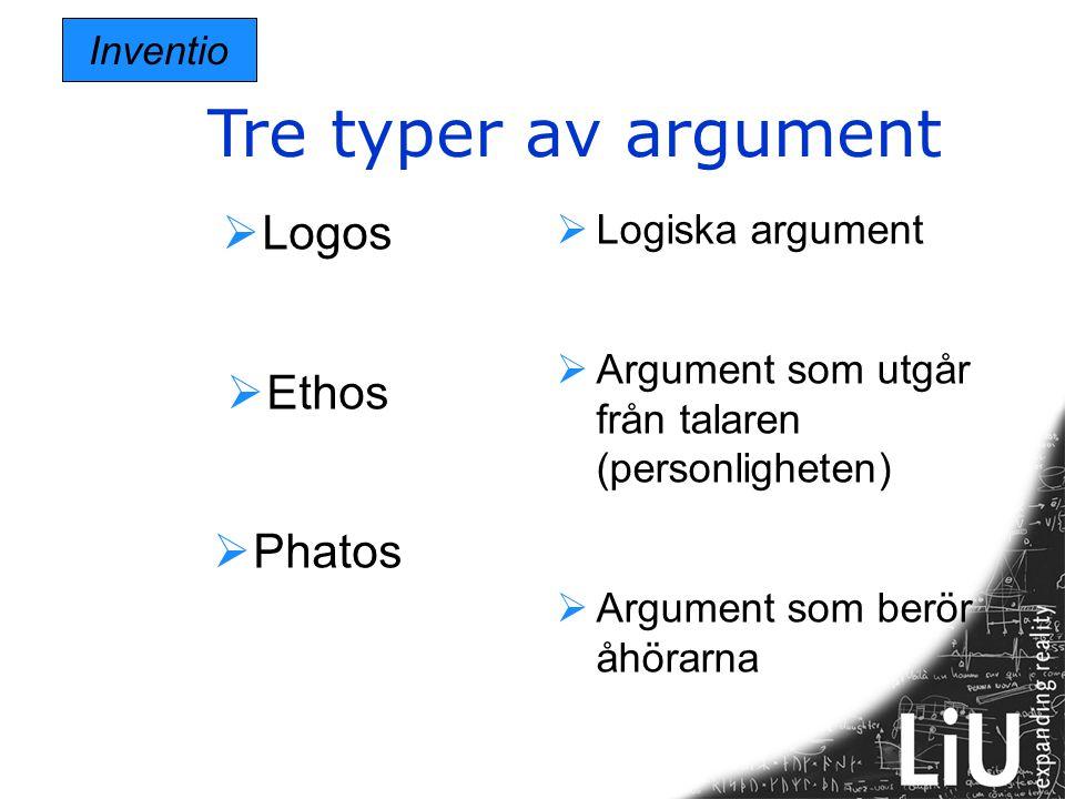 Tre typer av argument Logos Ethos Phatos Logiska argument