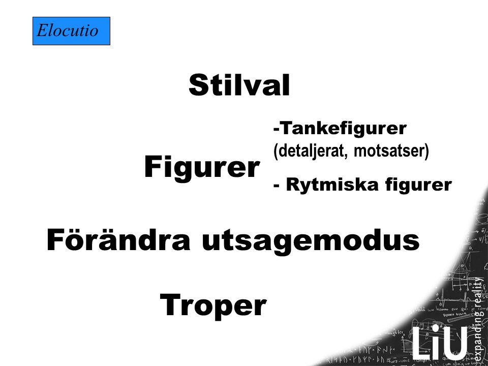 Stilval Figurer Förändra utsagemodus Troper Elocutio Tankefigurer