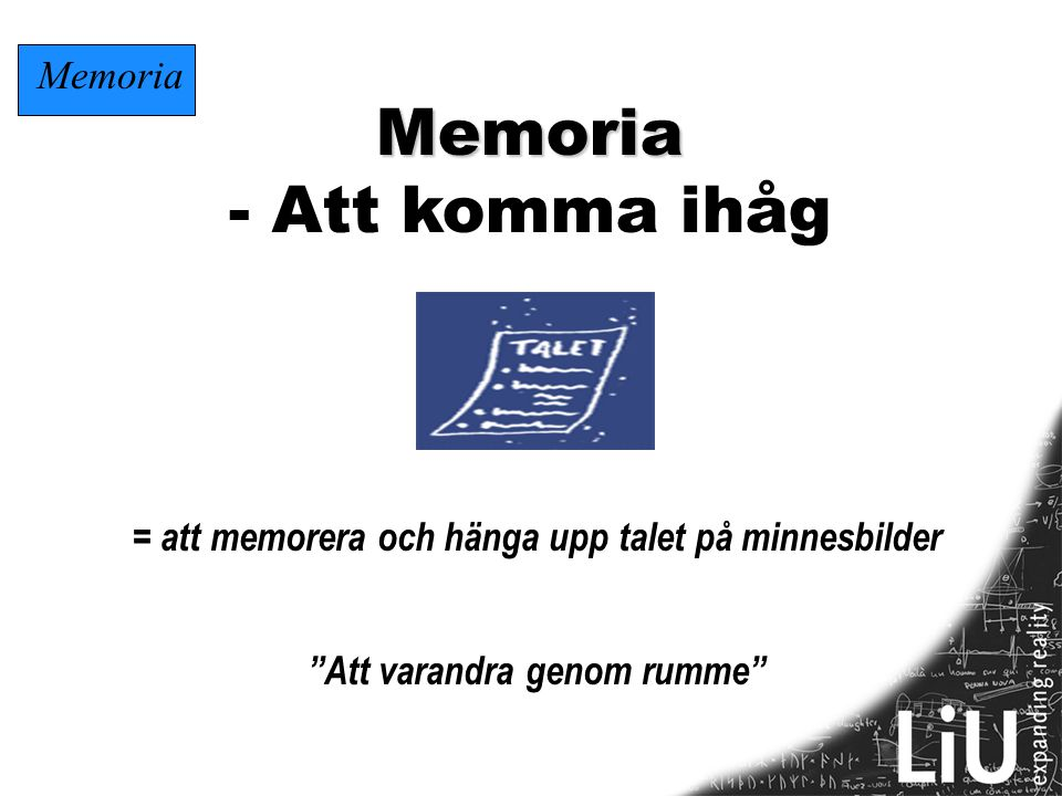 Memoria - Att komma ihåg Memoria