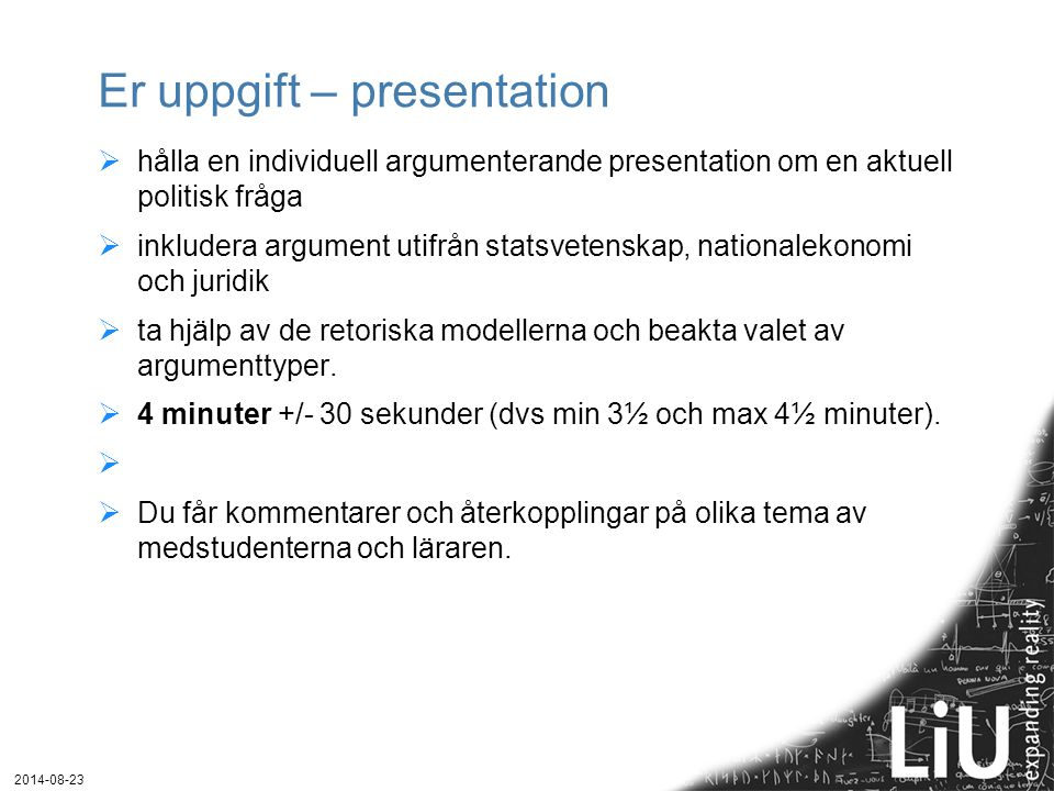 Er uppgift – presentation